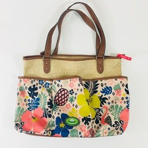 Lily Bloom Nessa Straw Floral Tote with Pockets